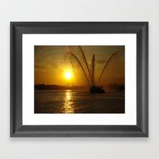 Fireboat at Sunset Framed Art Print