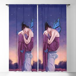 Sunset Monarch Butterfly Fairy Blackout Curtain