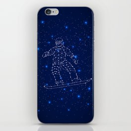 Celestial map with the constellation-Snowboarder and space stars. Extreme sport snowboarding iPhone Skin