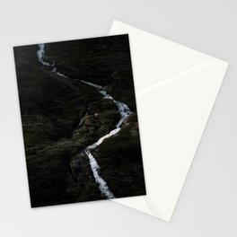 Dark forest with waterfall on the side of a mountain in Norway - Landscape Photography Stationery Cards