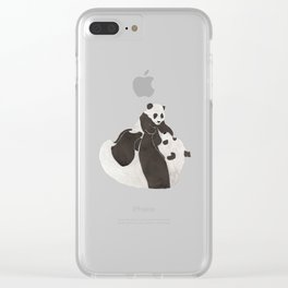 Mother and baby panda playing Clear iPhone Case
