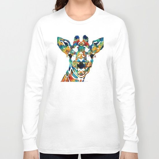 Colorful Giraffe Art - Curious - By Sharon Cummings Long Sleeve T-shirt