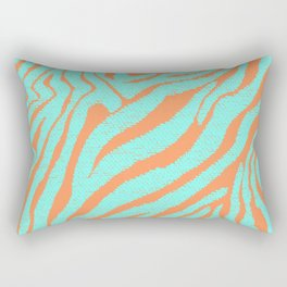 Hipster Turquoise Orange Zebra Stripes Pattern Rectangular Pillow