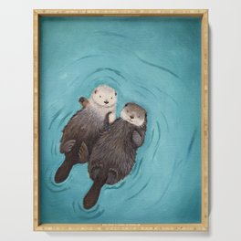 Otterly Romantic - Otters Holding Hands Serving Tray