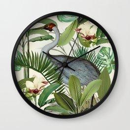Tropical Heron Bird Rainforest Illustration Wall Clock