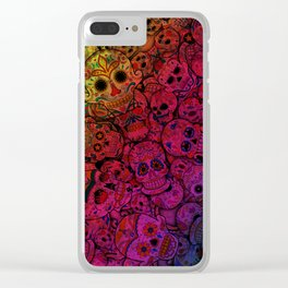 Rainbow Sugar Skulls Clear iPhone Case
