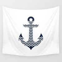anchor Wall Tapestries featuring Anchor by Paula Belle Flores