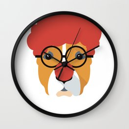 Pitbull  Dog Clown Face Halloween Wall Clock