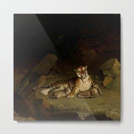 Tiger and Cubs by Jean-Léon Gérôme 1884 - Reproduction from original under CC0 Metal Print