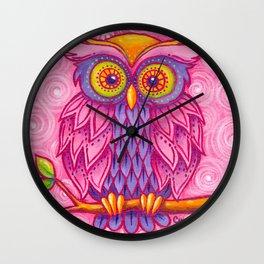 Owl in Pink Wall Clock