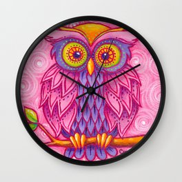 Owl in Pink Wall Clock
