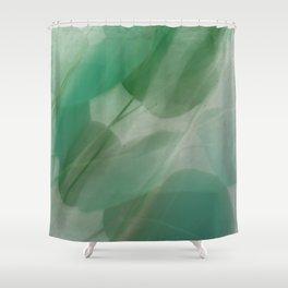 Fleur Blur Series-Abstract Eucalyptus Leaves Shower Curtain