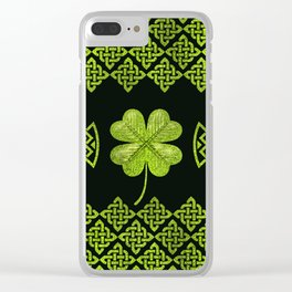 Irish Shamrock Four-leaf clover with celtic decor Clear iPhone Case