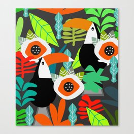 Tropical vibe with toucans Canvas Print