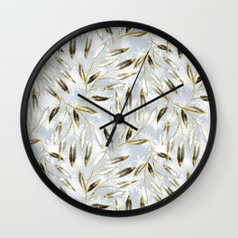 Christmas colorful pattern. Gold sprigs on a light gray background. Wall Clock
