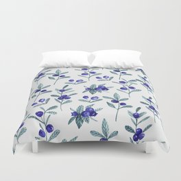 Modern watercolor blue berries fruit floral pattern Duvet Cover