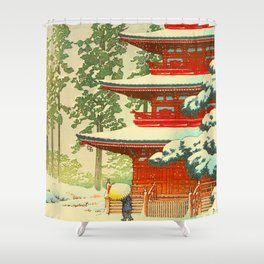 Vintage Japanese Woodblock Print Japanese Shinto Shrine Red Pagoda With Snow Capped Trees Shower Curtain