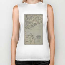 Vintage New York Bay & Atlantic Ocean Map (1880) Biker Tank