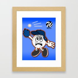 Sports Comic Character Trying to Catch Baseball Framed Art Print