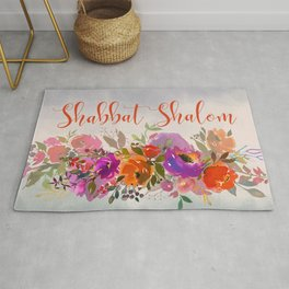 Watercolor Shabbat Shalom Floral Art Rug