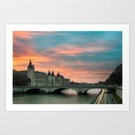 Paris by night France Art Print