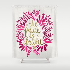 The Future is Bright – Pink & Gold Shower Curtain