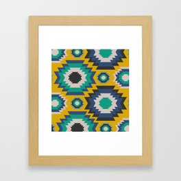 Ethnic in blue, green and yellow Framed Art Print