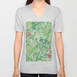 Hand painted watercolor green pink tropical leaves floral Unisex V-Neck
