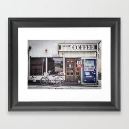 Bike and Coffee Shop in Kyoto Framed Art Print