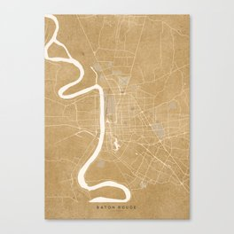 Vintage map of Baton Rouge Louisiana in sepia Canvas Print