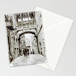 Carrer del Bisbe - Barcelona Black and White Stationery Cards