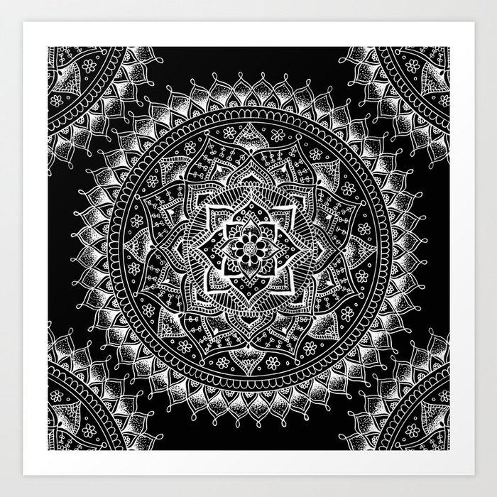 White flower mandala on black art print by laurelmae society6 white flower mandala on black art print mightylinksfo Image collections