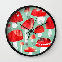 mushrooms Wall Clocks featuring Mushrooms by Claudia Voglhuber