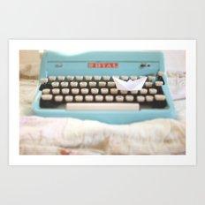 Paperboat & Typewriter Art Print