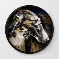 greyhound Wall Clocks featuring Greyhound Dog by BaconFactory