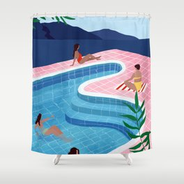Pool ladies Shower Curtain