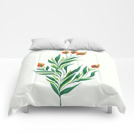 Abstract Green Plant With Orange Buds Comforters