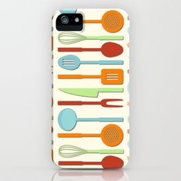Kitchen Utensil Colored Silhouettes on Cream II iPhone Case