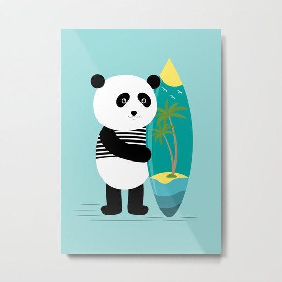 Surf along with the panda. Metal Print