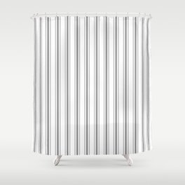 Mattress Ticking Wide Striped Pattern in Charcoal Grey and White Shower Curtain