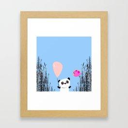 Cute Panda and Bird Framed Art Print