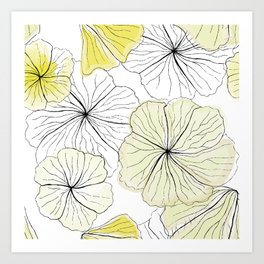 Hibiscus Design Lime Art Print