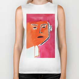 Picasso inspired abstract watercolour painting Biker Tank