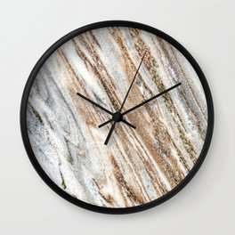Marble Slab Texture // Gold Silver Black Gray White Stripes Luxury Rugged Rustic Rock Wall Clock