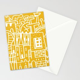 Pantone 2021 Doodle Crazy House Village Urban Space Architecture Sunshine Yellow Stationery Cards
