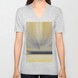 Charcoal Grey Yellow Abstract Unisex V-Neck