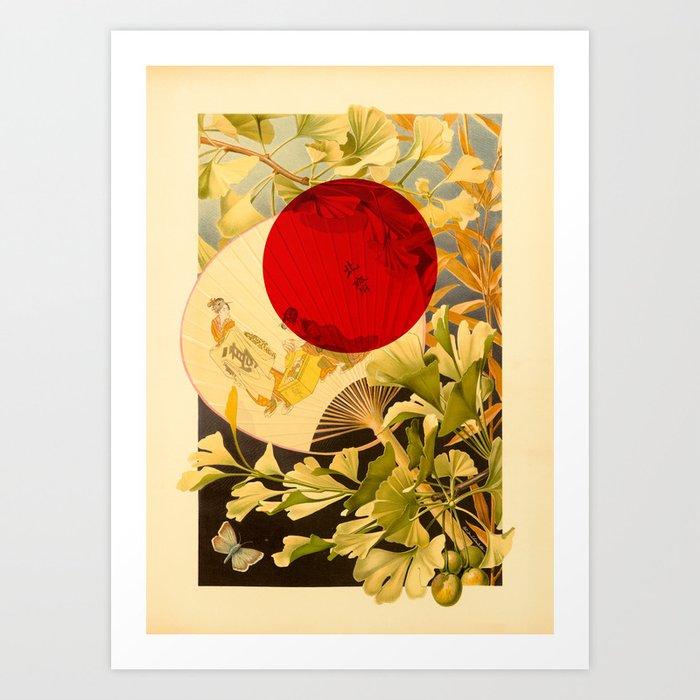 Japanese Ginkgo Hand Fan Vintage Illustration Art Print