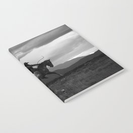 Black and White Cowboy Being Bucked Off Notebook