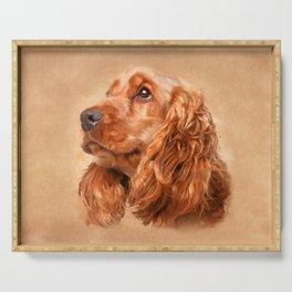 English Cocker Spaniel Dog Digital Art Serving Tray