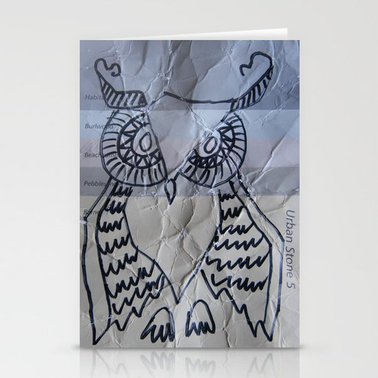 gray owl 02 Stationery Cards